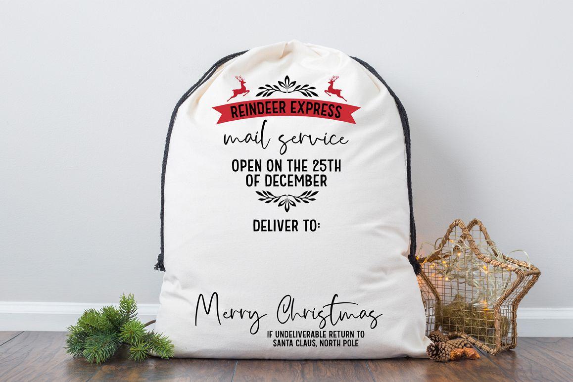 Santa Bag SVG - Reindeer Express Mail Service example image 1