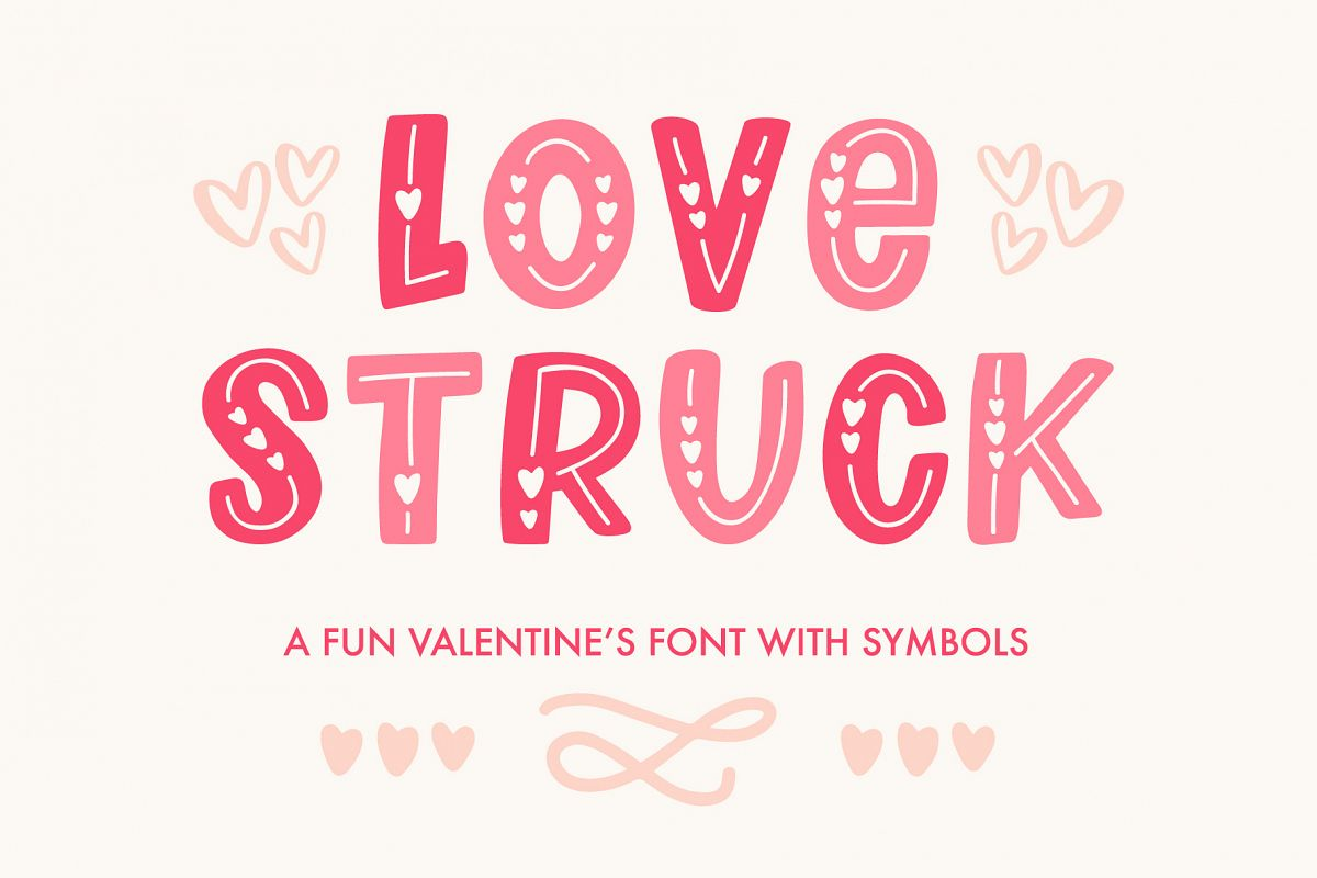 Love Struck, Thick Valentine's Heart Font example image 1