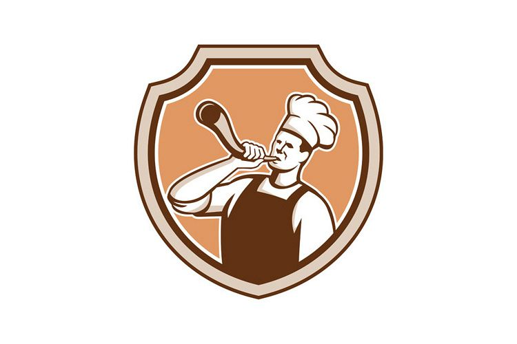Chef Cook Blowing Bullhorn Shield Retro example image 1