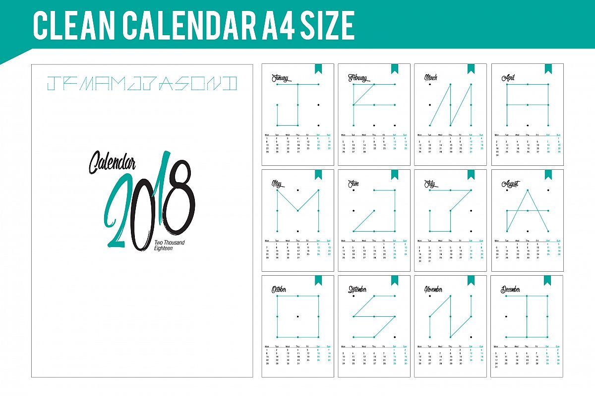 2018 Simple and Clean Calendar example image 1