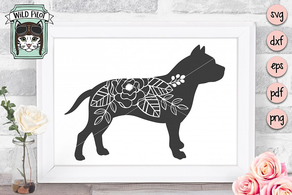 Dog SVG file, Pitbull SVG, Flower Dog Silhouette, Floral Dog example image 1