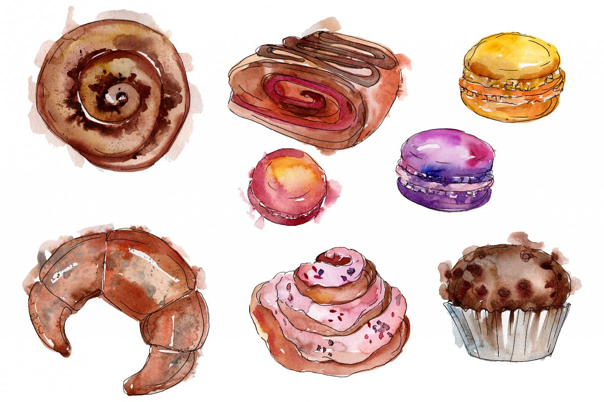 Dessert Provence Watercolor png example image 1