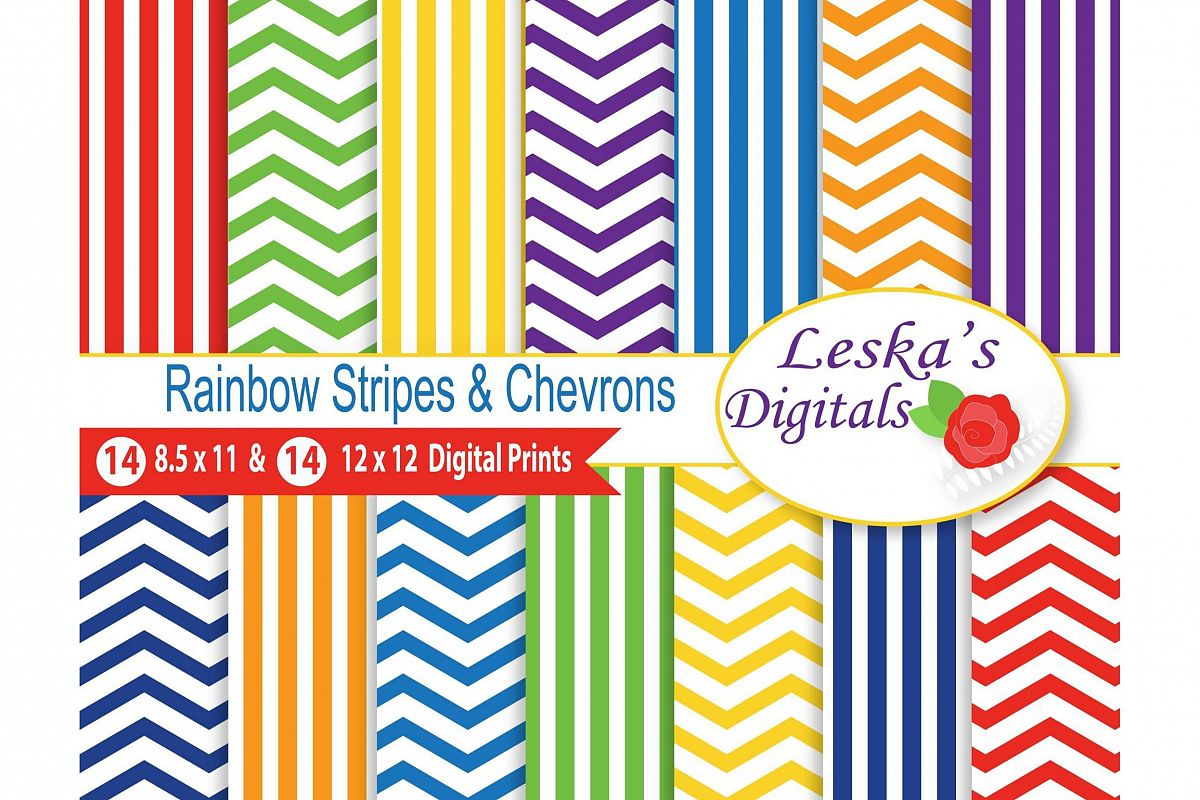 Rainbow Stripes and Chevron Patterns example image 1