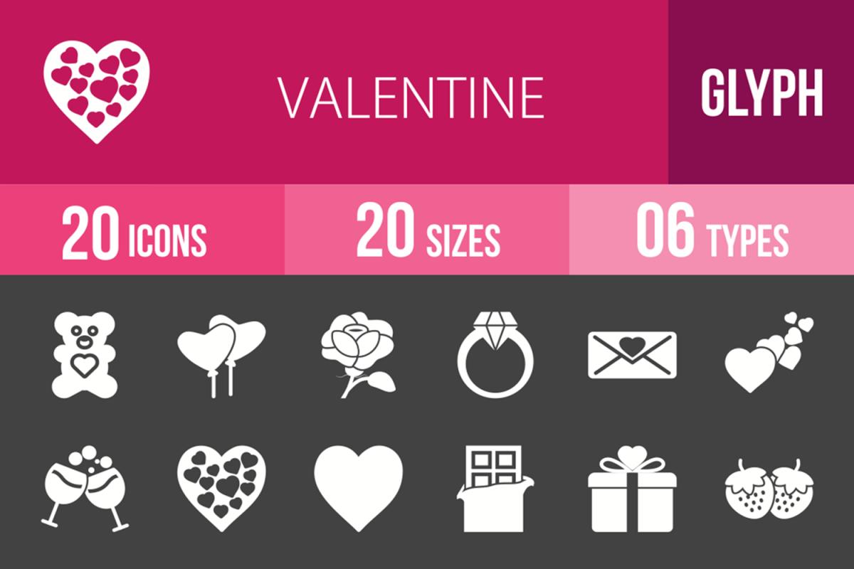 20 Valentine Glyph Inverted Icons example image 1