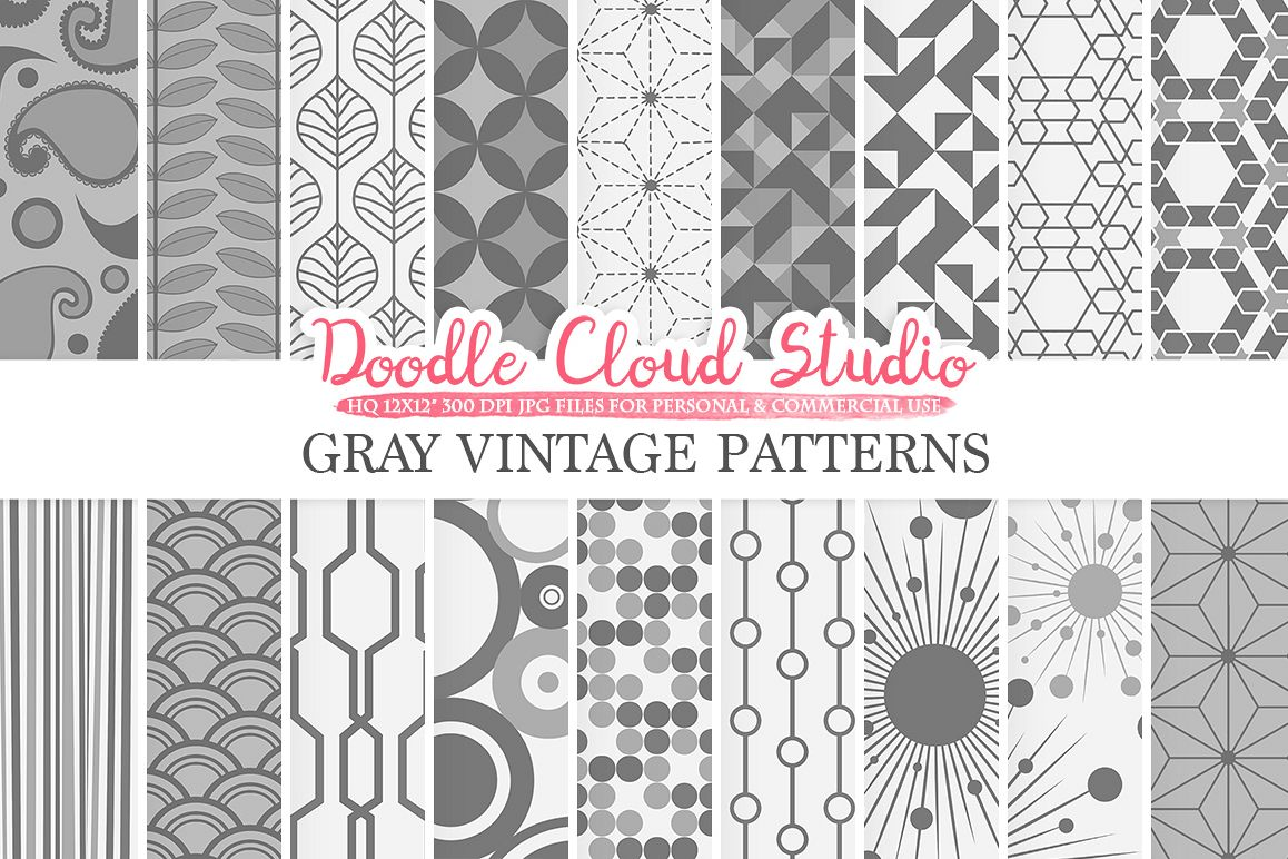 Gray Retro digital paper, Geometric Vintage patterns, Grey digital backgrounds, Instant Download, for Personal & Commercial Use example image 1