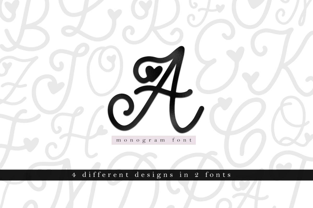 Handwritten Monogram Font - Four Styles example image 1