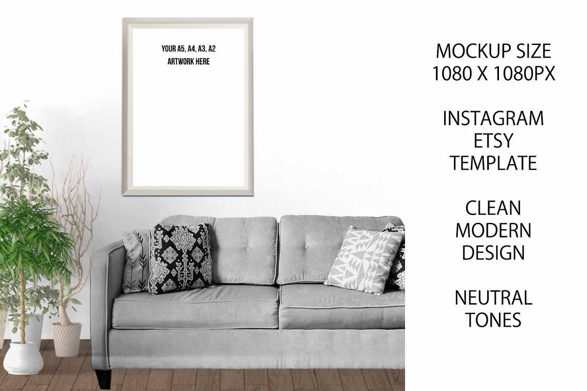 A4 Art Photography Frame Mockup for Etsy / Instagram example image 1