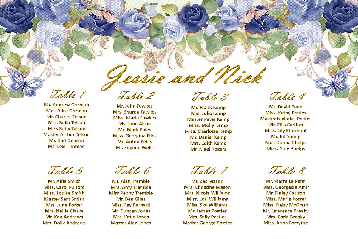 Wedding Seating Plan Signa1 A2 And A3 Template Customisable