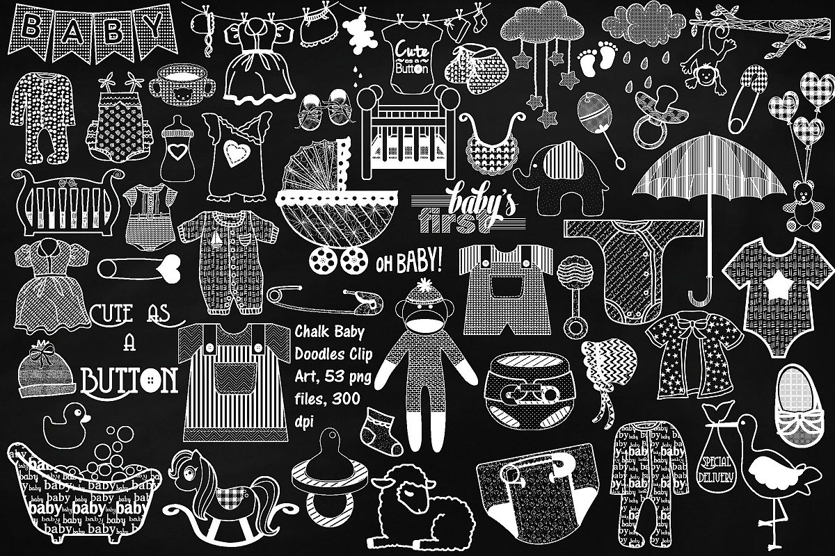 Chalkboard Baby Doodles AI EPS PNG example image 1