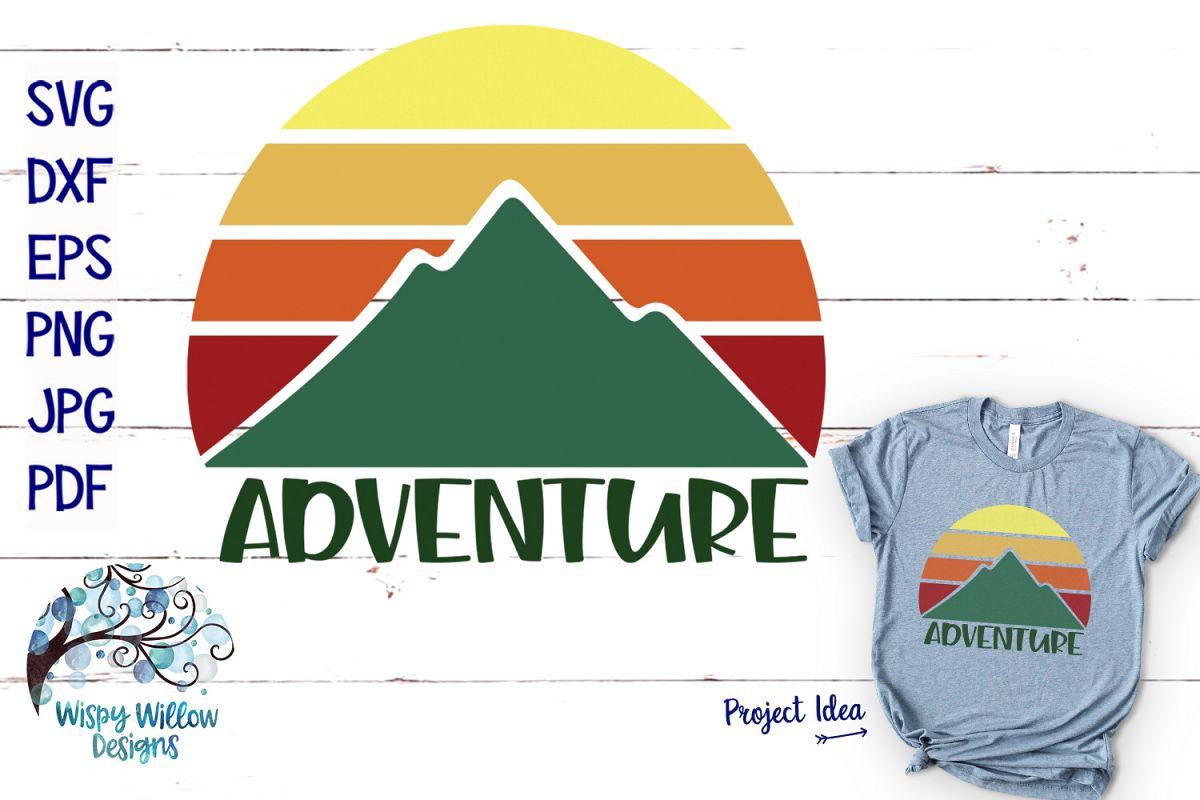 Adventure SVG | Mountain Sunrise SVG Cut File example image 1