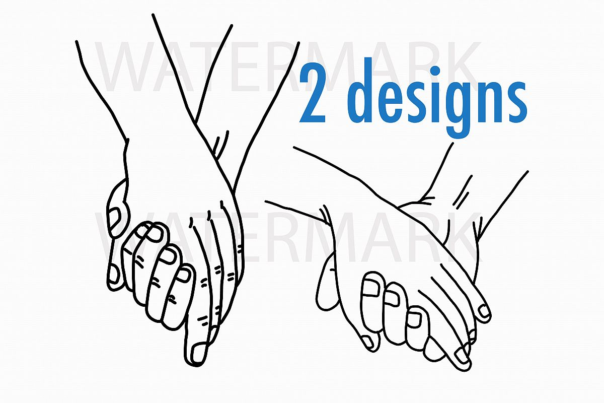 Holding Hand with love - SVG/JPG/PNG Hand Drawing example image 1