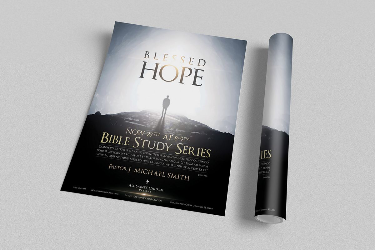 Creative Book Cover Design Samples ~ Blessed hope church flyer by creative d design bundles