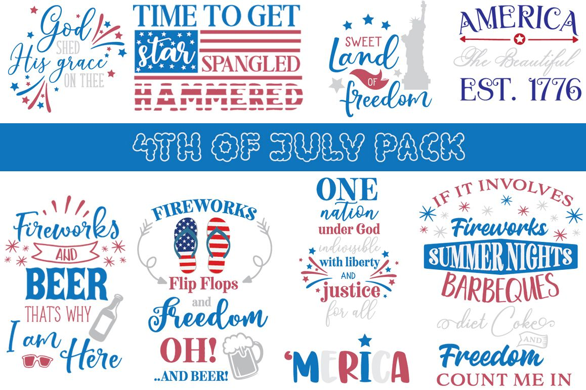 4th of July SVG Pack - 21 Patriotic Cutting Files example image 1