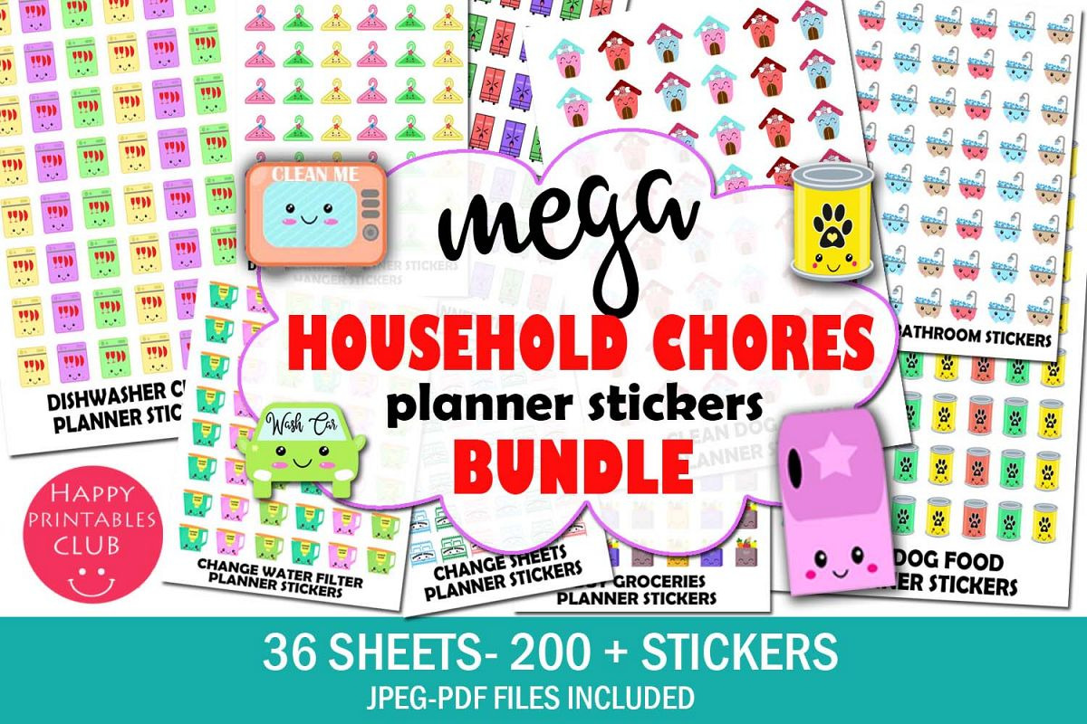 Mega Household Chores Planner Stickers Bundle Pack example image 1
