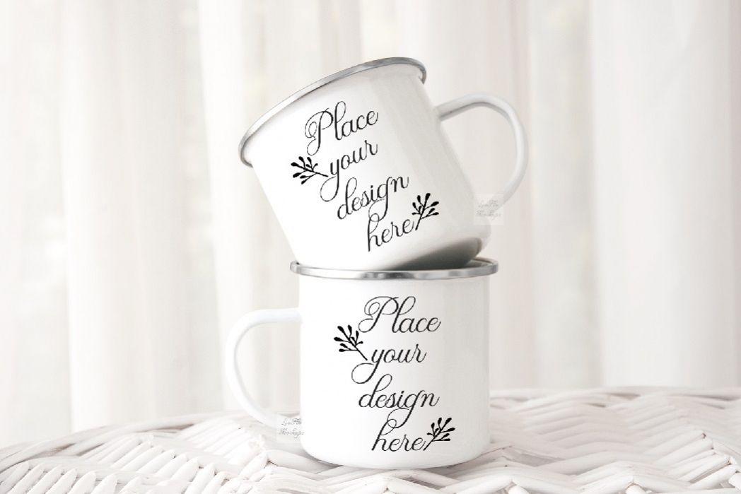 2 Camping mug mockup two cups mock up metal camp enamel mugs example image 1