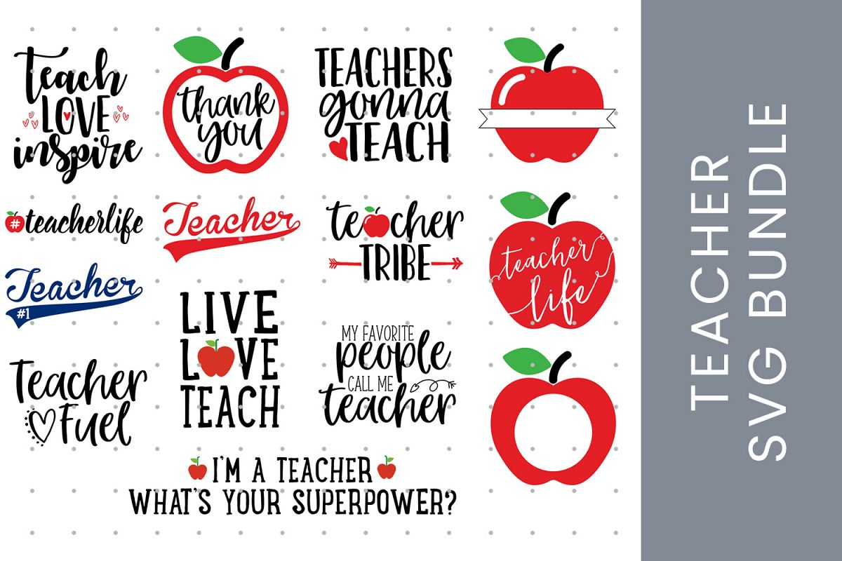 Teacher SVG bundle, Teacher Appreciation and Teacher Gift example image 1