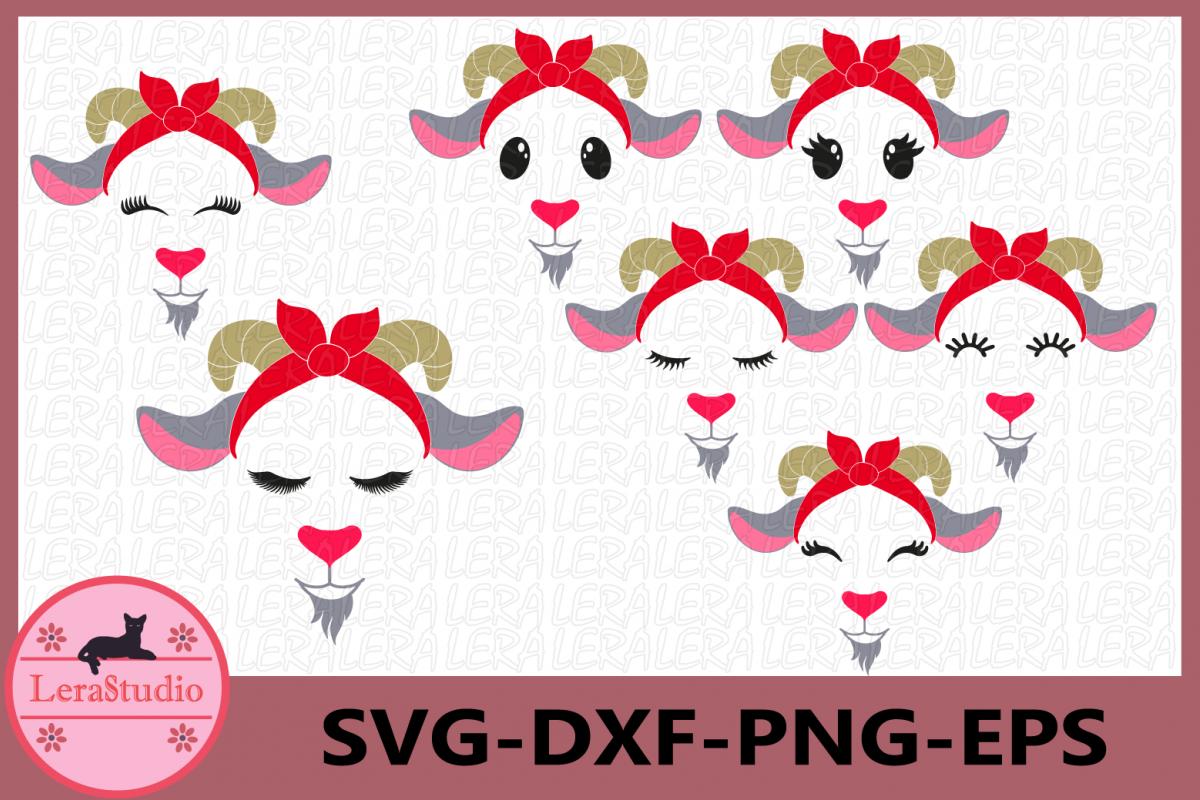 Goat with Bandana svg,Goat Face Svg,Farm Svg, Goat Eyelashes example image 1