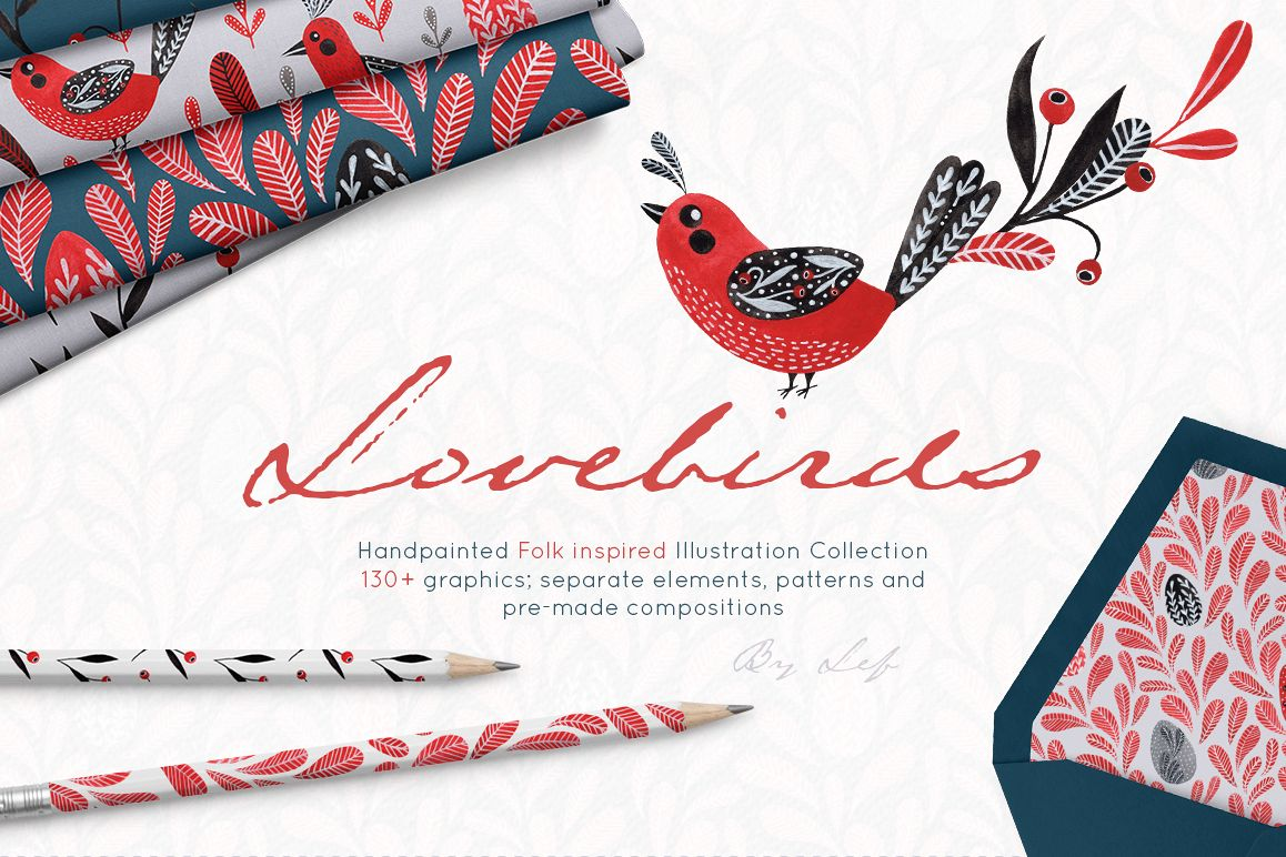 Lovebirds folk art bird illustrated collection example image 1