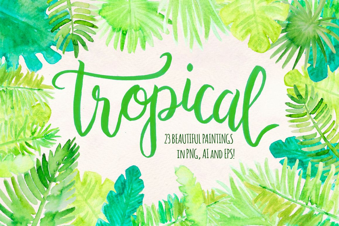 Tropical Palm Leaves 23 Natural Forest Elements example image 1