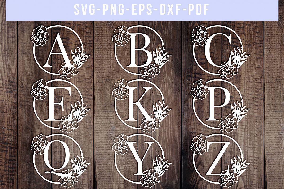Bundle Of 26 A-Z Floral Alphabet Papercut Templates, SVG PDF example image 1