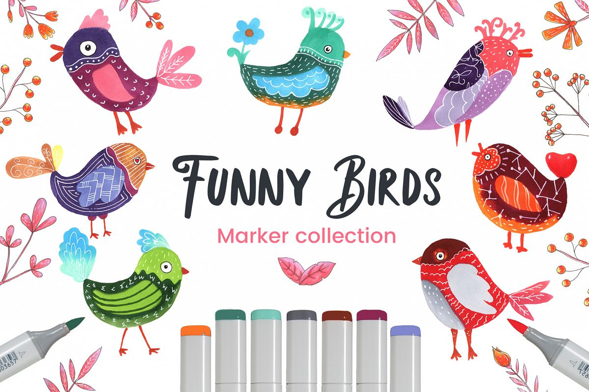 Funny Birds Set Marker Collection example image 1
