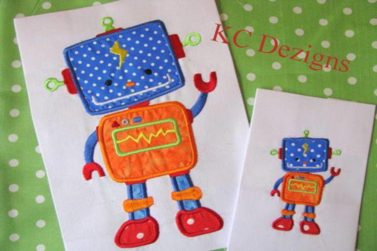 Robot Boy 01 Machine Applique Embroidery Design example image 1