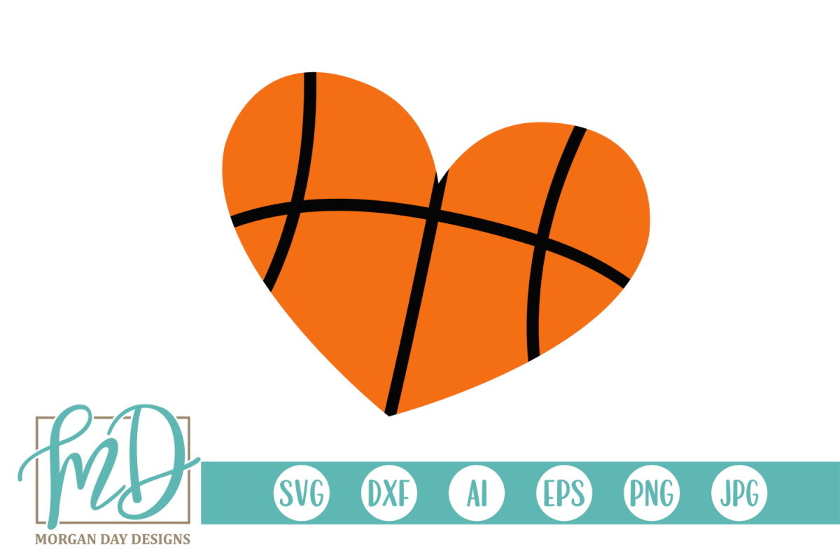 Basketball Heart SVG, DXF, AI, EPS, PNG, JPEG example image 1