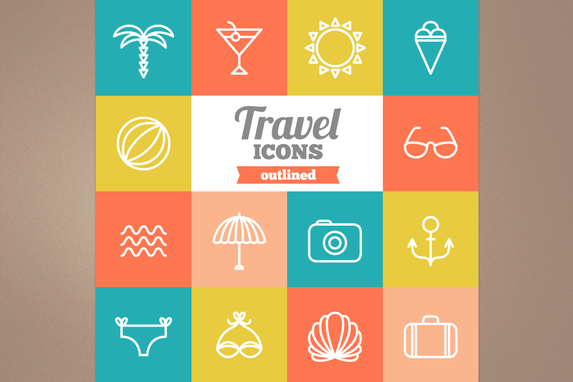 Outlined Travel Icons example image 1