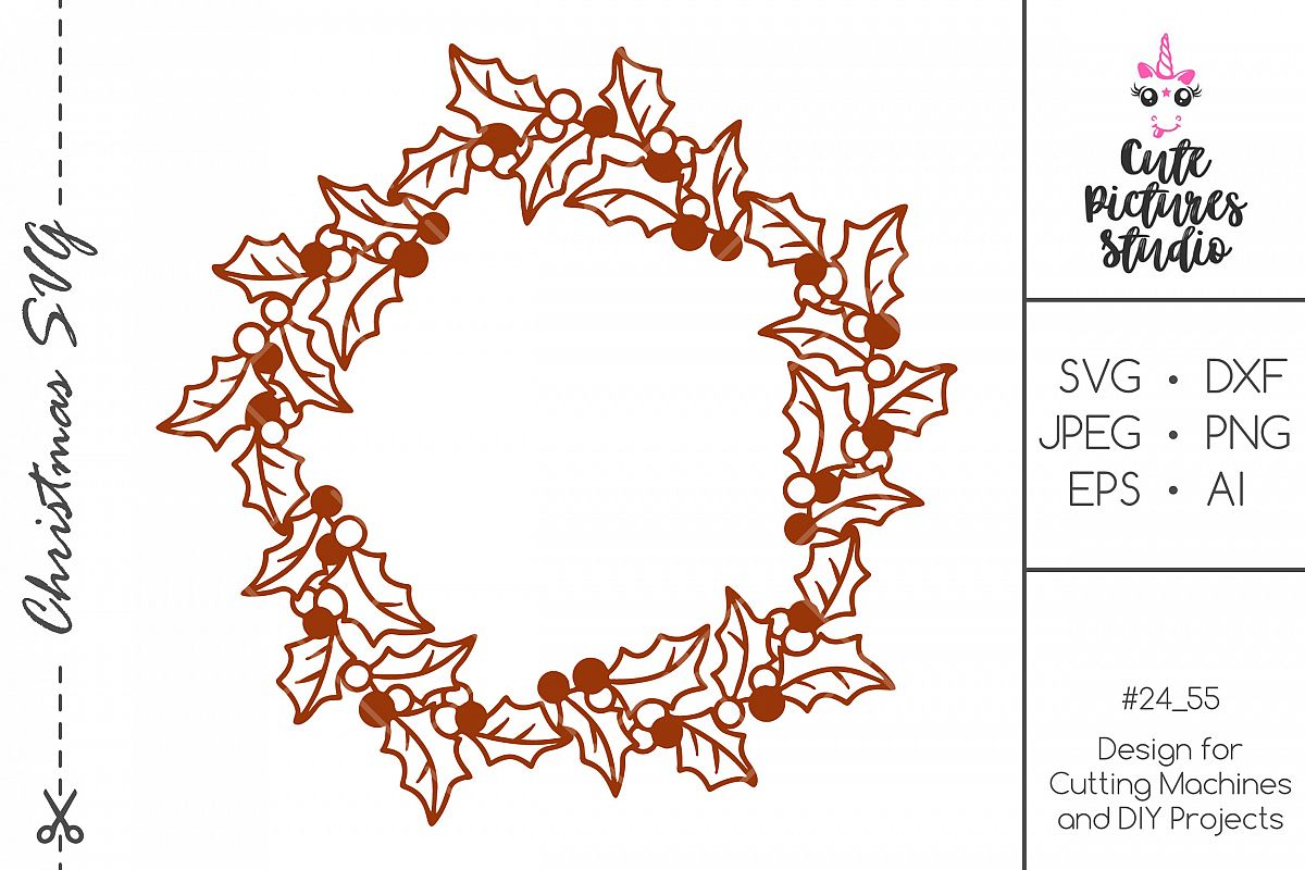 Christmas circle frame SVG DXF PNG, Monogram frame svg example image 1