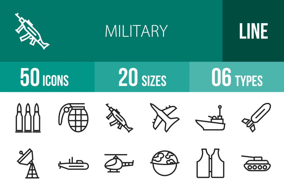 50 Military Line Icons example image 1