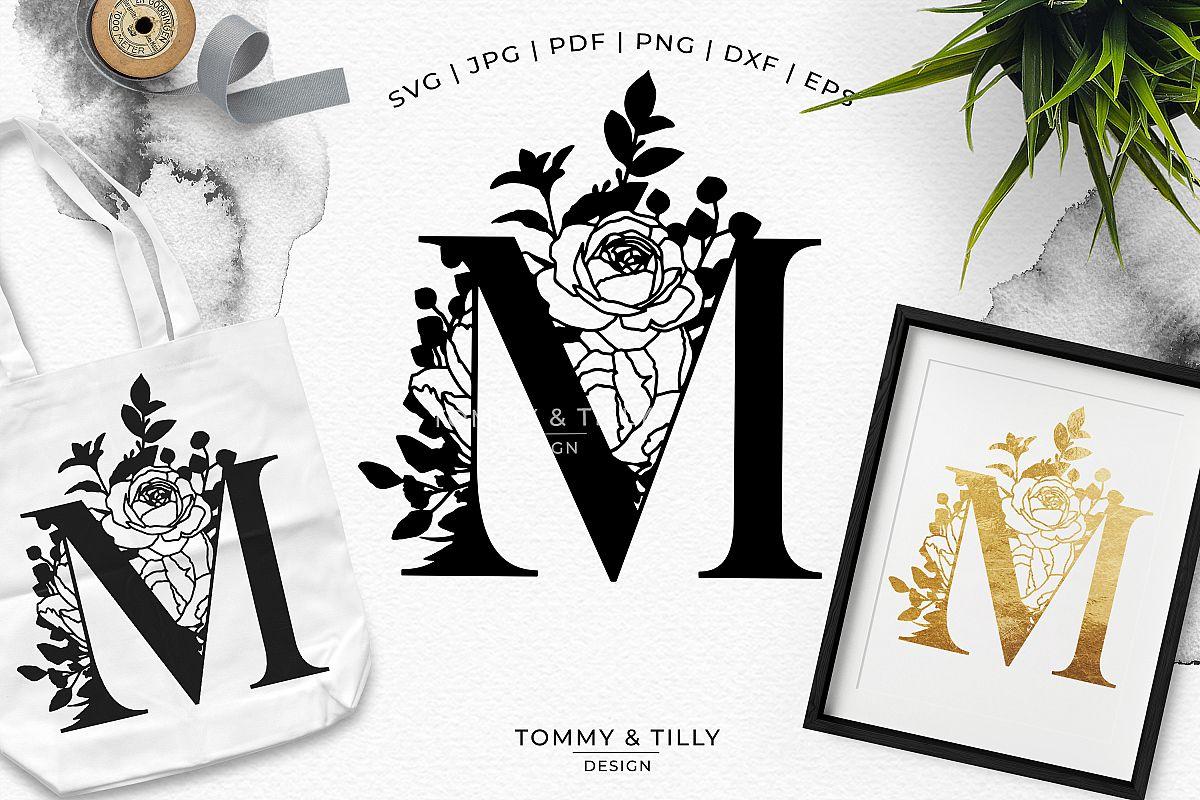 M Bouquet Letter Design - Paper Cut SVG EPS DXF PNG PDF JPG example image 1