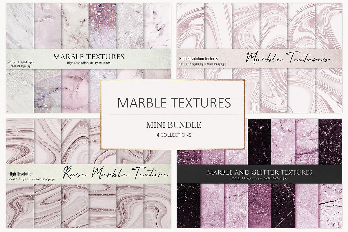 Rose Marble Digital Paper BUNDLE example image 1