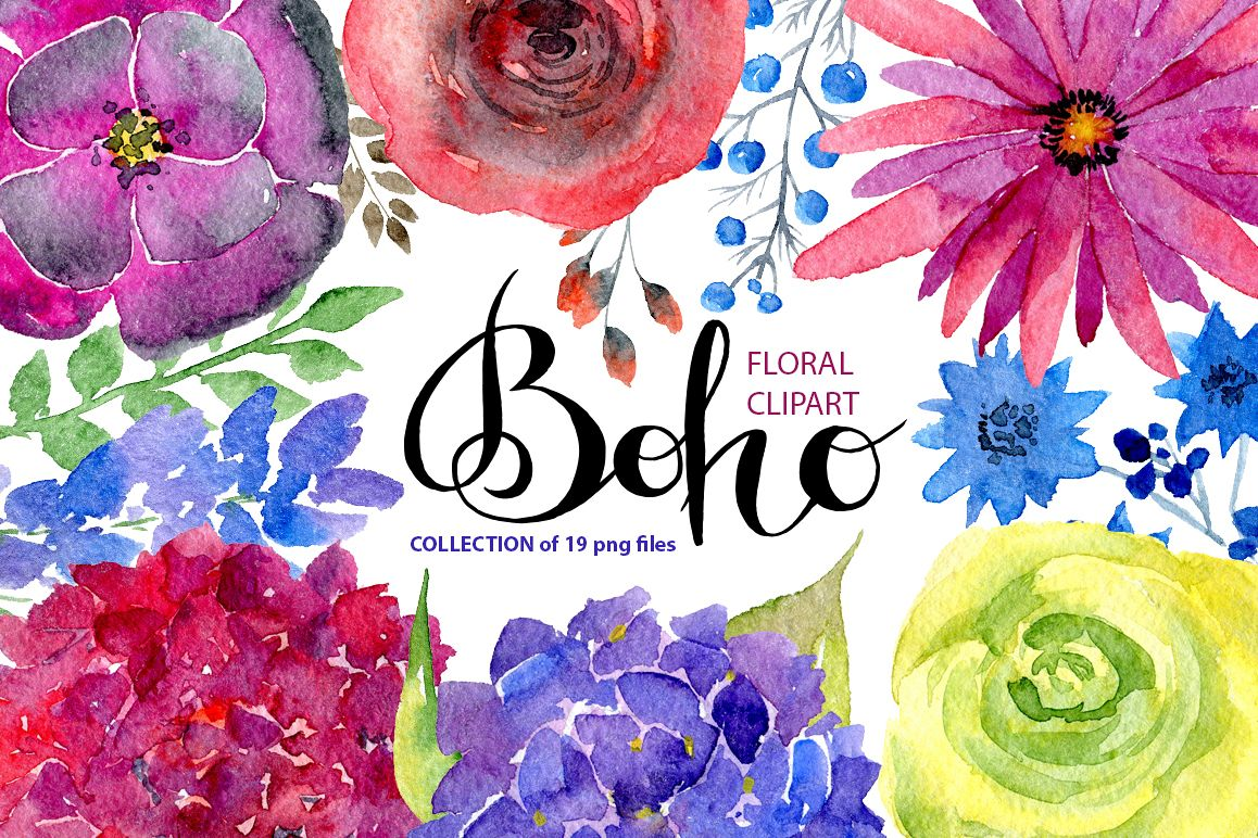 Watercolor bright boho flowers example image 1
