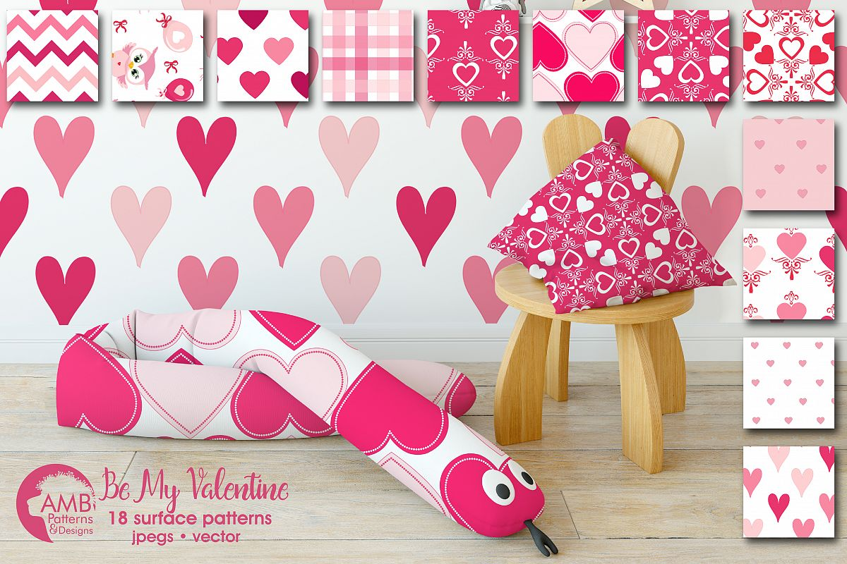 Be my Valentine pattern, papers, surface design AMB-1166 example image 1