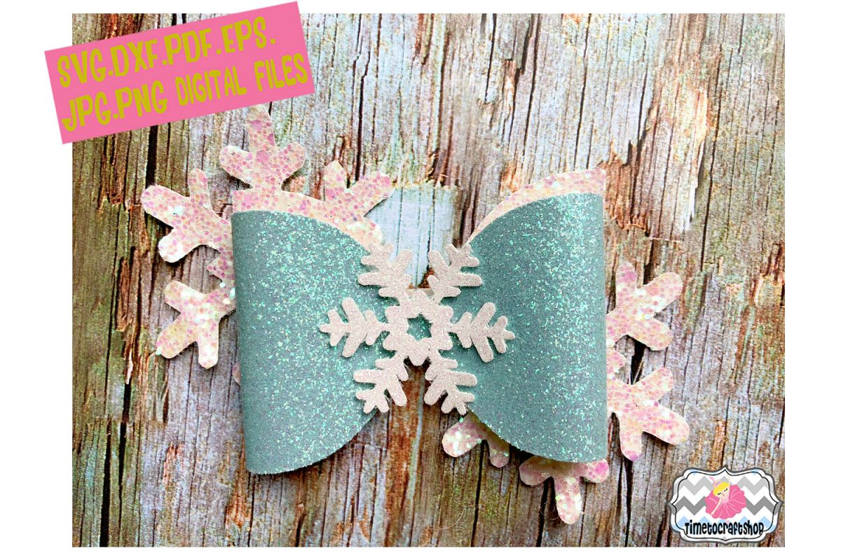 Snowflake Hair Bow Template example image 1