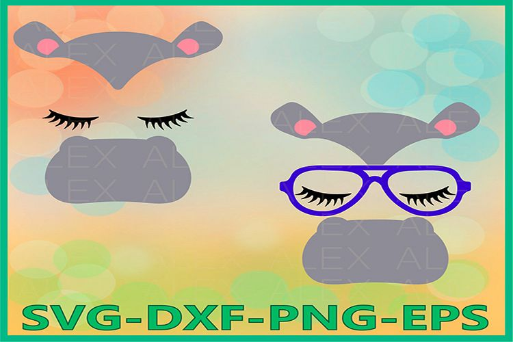 Hippo face svg, Hippo Svg Files, Hippo Eyelashes Face Svg example image 1