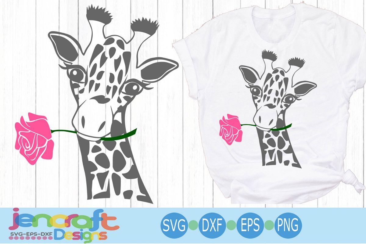 Giraffe Face svg, Flower Rose Safari Giraffe head cut file example image 1