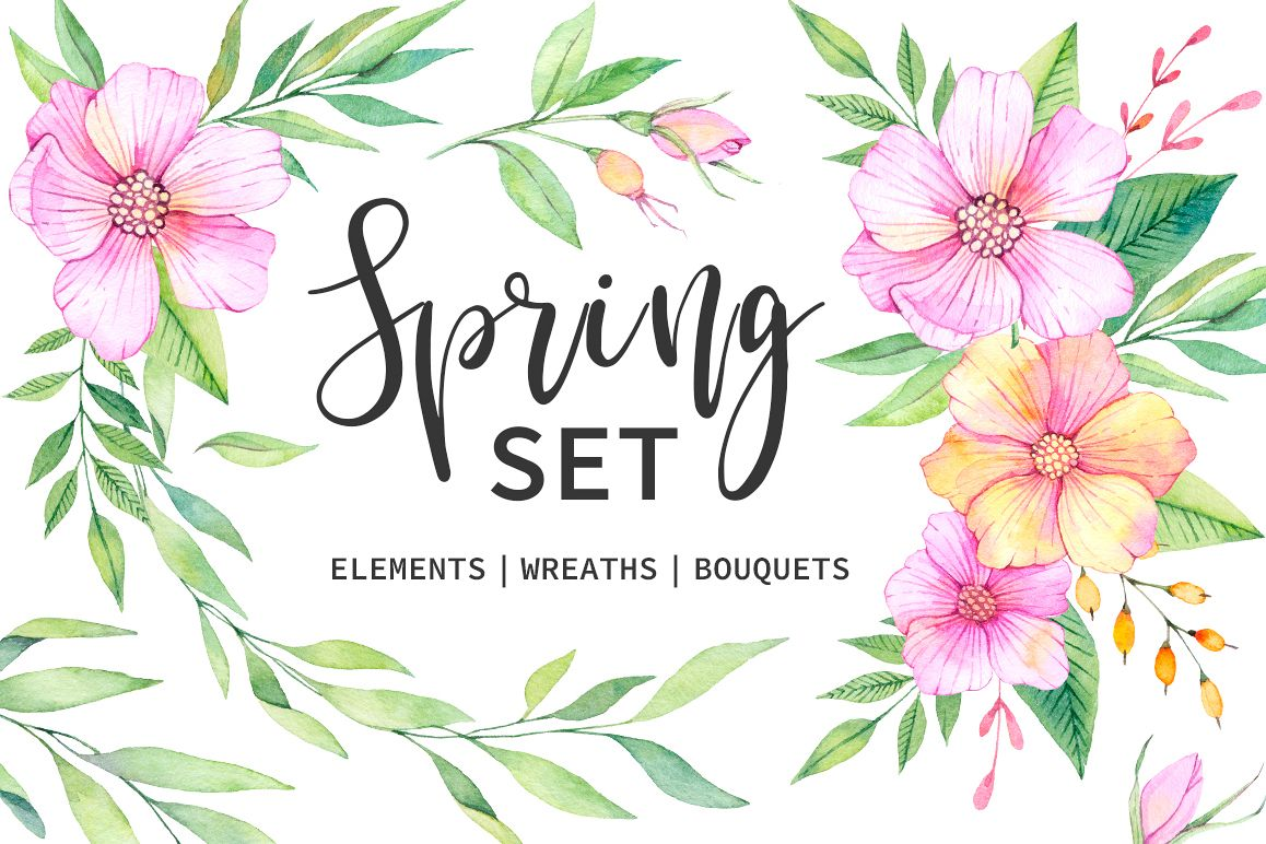 Watercolor spring set example image 1
