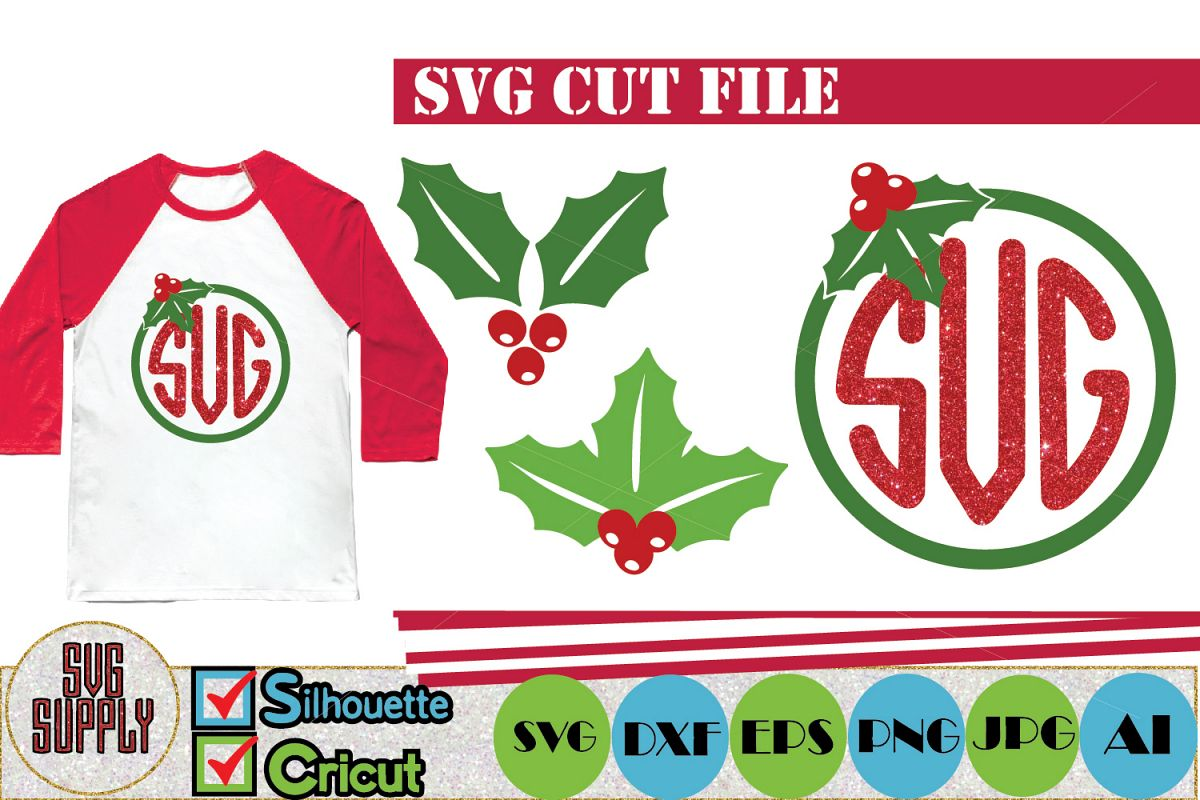 Christmas Holly SVG Cut File example image 1