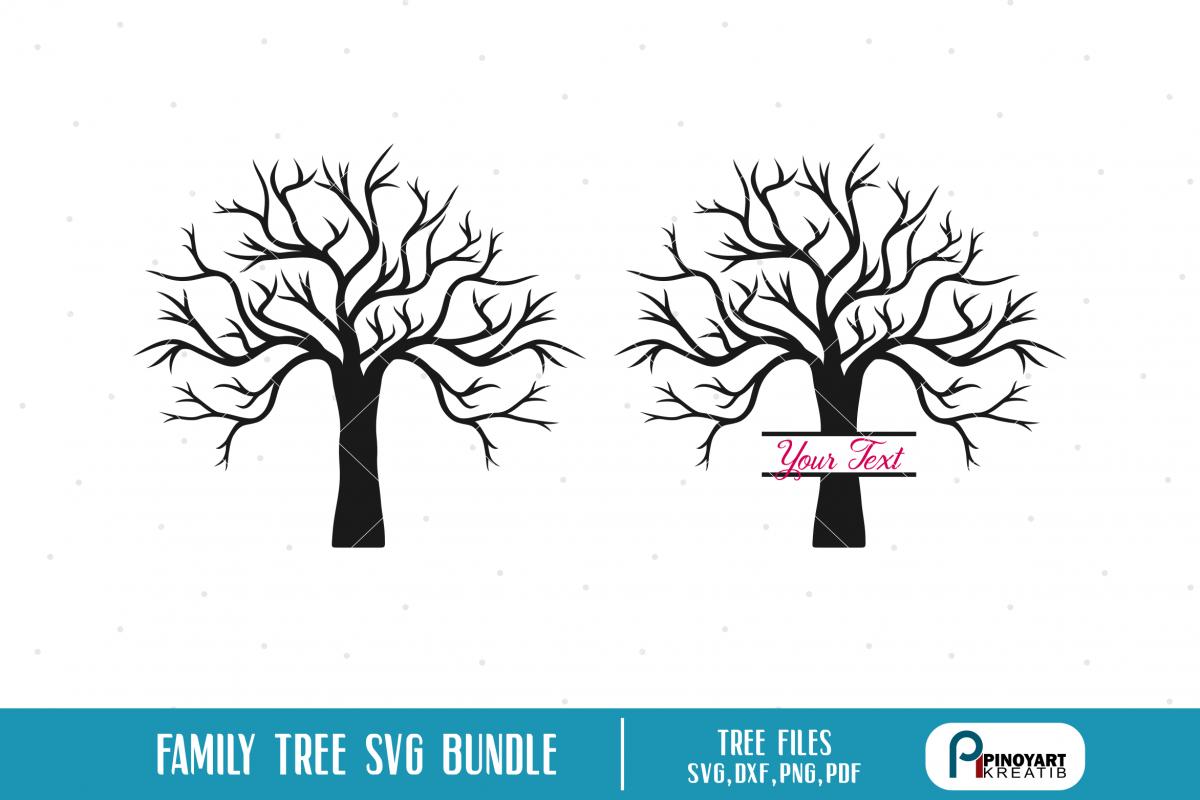 Bare Christmas Tree Svg.Family Tree Svg Bundle 2 Tree Silhouette Vectors