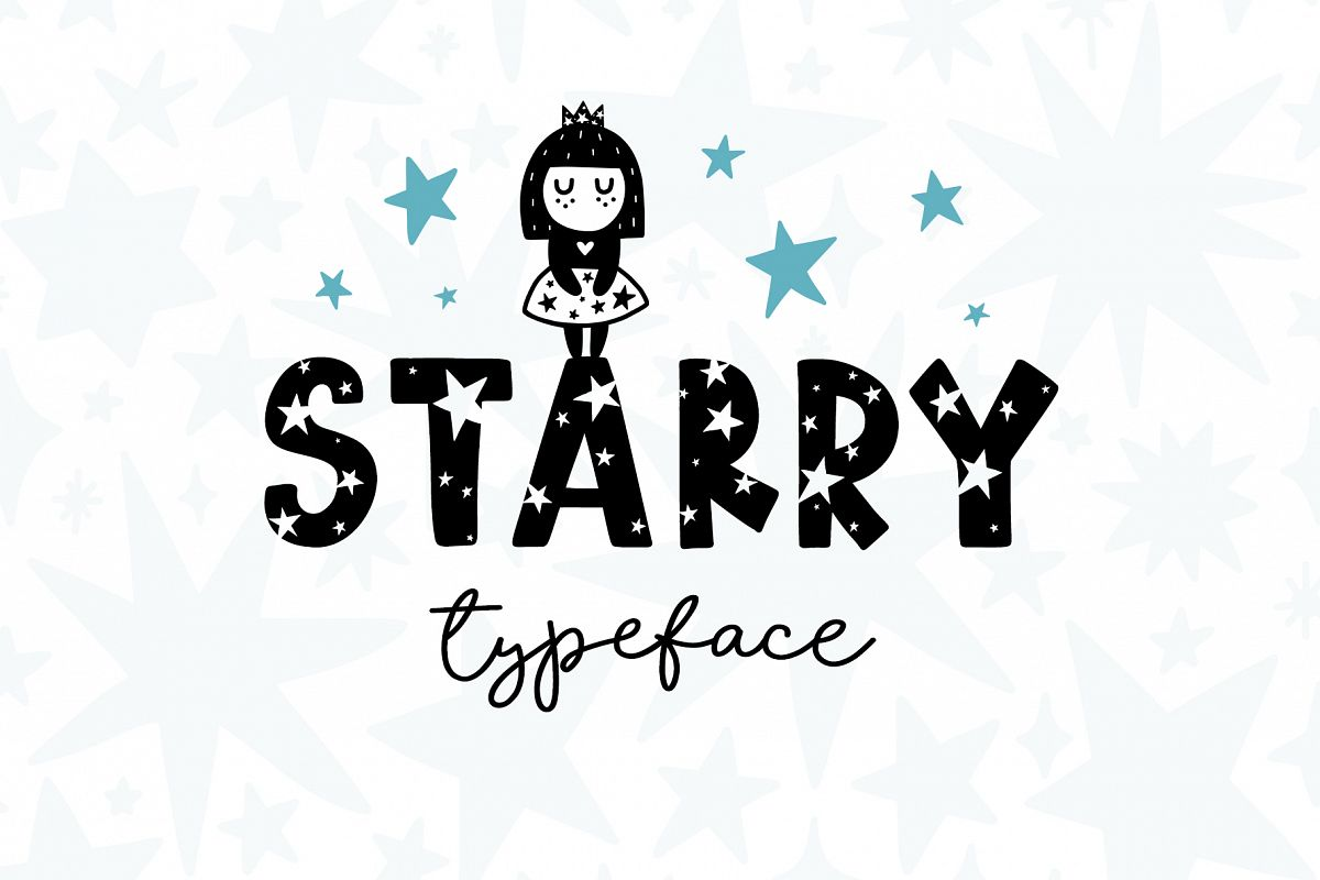 Starry Typeface - Font with Clipart example image 1