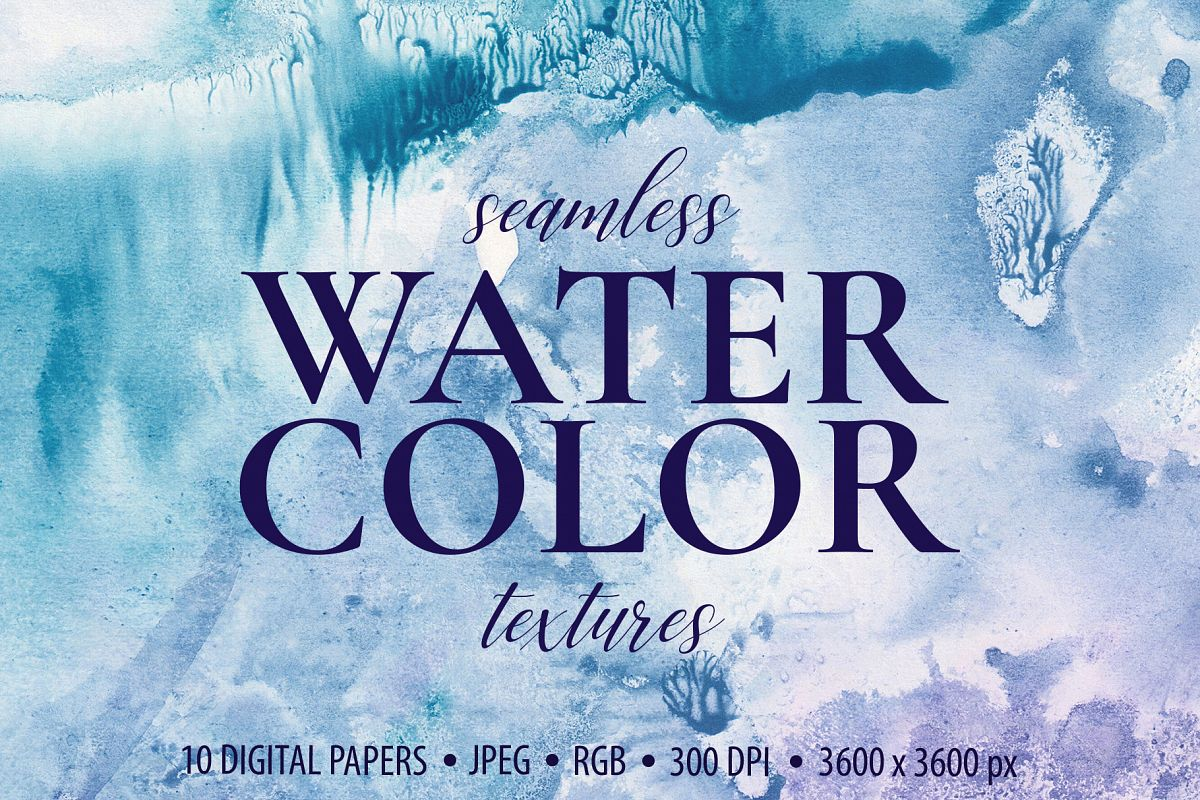 Seamless Watercolor Textures - 10 Watercolour Backgrounds example image 1