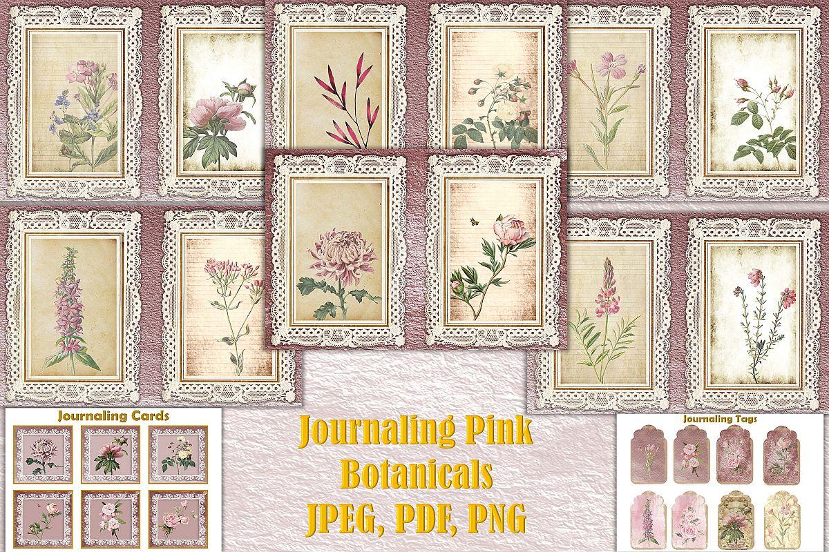 Journaling Kit Pink Botanicals with free ephemera & clipart example image 1