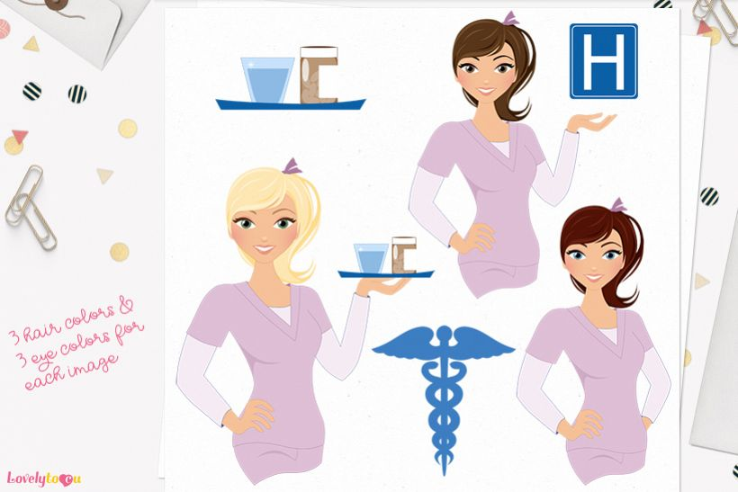 Woman nurse character clip art L069 Piper example image 1