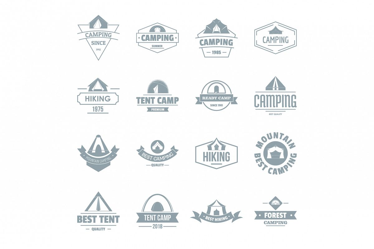 Camping tent logo icons set, simple style example image 1