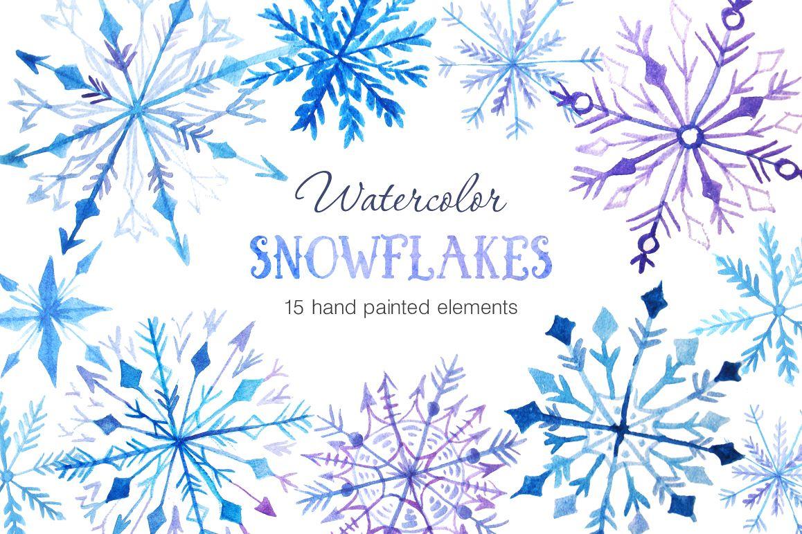 Watercolor Snowflakes Set Vol.2 example image 1