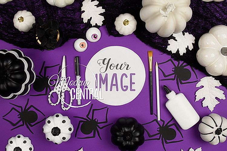 Halloween Craft Background Mock Up Flatlay, JPG Mockup Photo example image 1