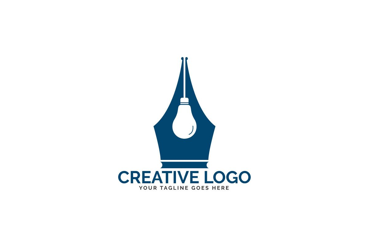 Pen Nib And Bulb Logo Idea. example image 1