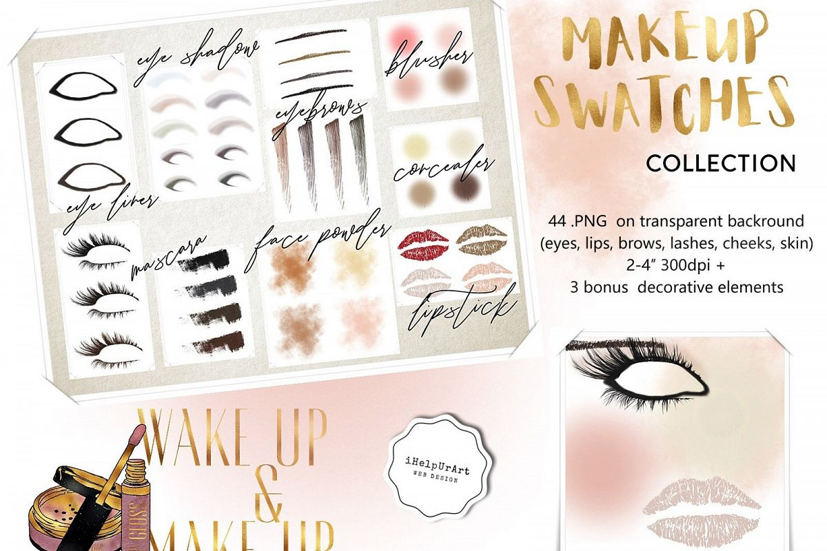 Makeup swatches collection clipart example image 1