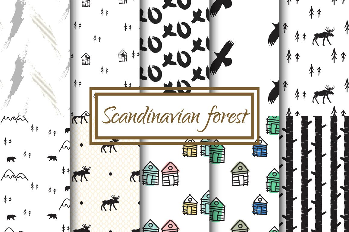 Scandinavian Forest Seamless Pattern example image 1